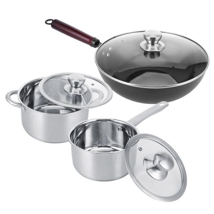 HURRISE Appareils de cuisine 6pcs/set Batterie de Cuisine en Acier Inoxydable Casserole à Lait Pot de Soupe Poêle à Frire
