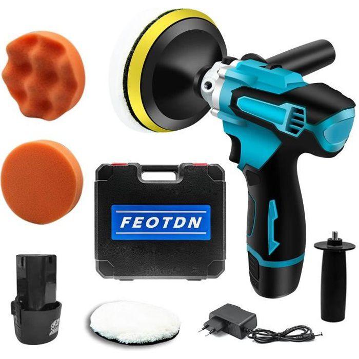 Polisseuse, kit de polisseuse de tampon de voiture sans fil 12 V 5 -, mini ensemble d'outils de polisseuse électrique avec batterie