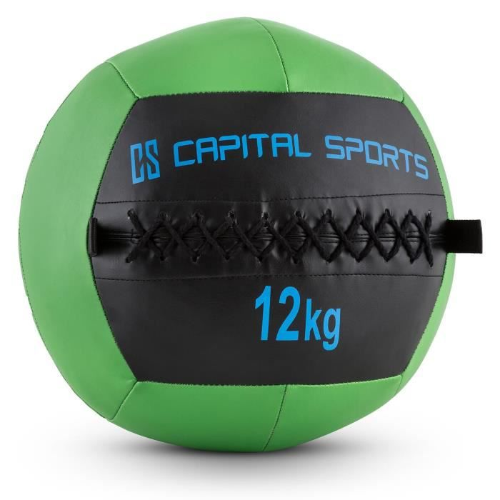 CAPITAL SPORTS Wallba - Medecine ball cuir synthétique pour exercices core & entrainement fitness, cross-training, muscu, MMA - 12kg