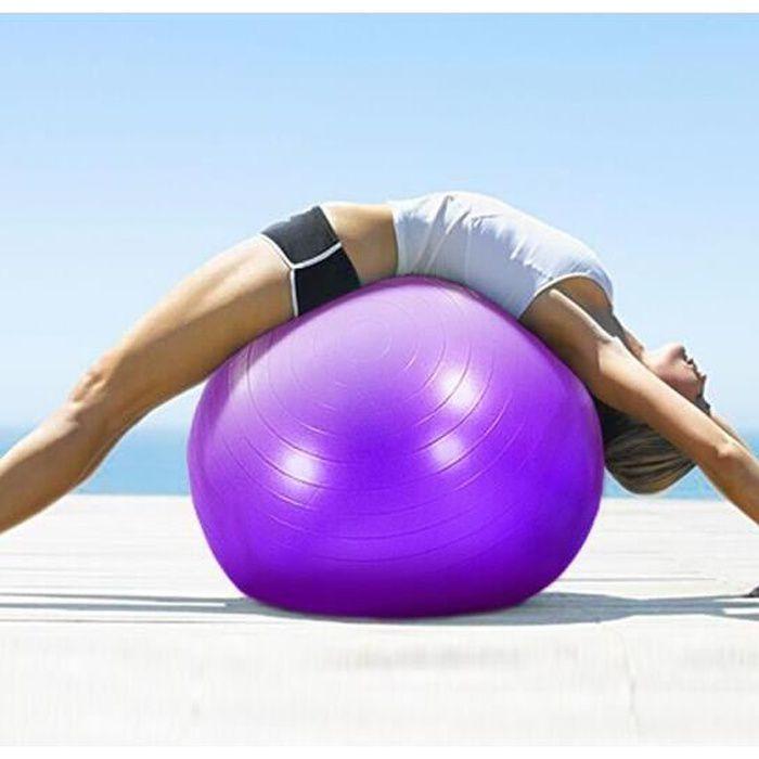 Swiss Ball Ballon de Fitness Gymnastique pour Pilates Yoga Renforcement du Dos avec Pompe Ballon - Bleu Diamètre 75 cm Taille M
