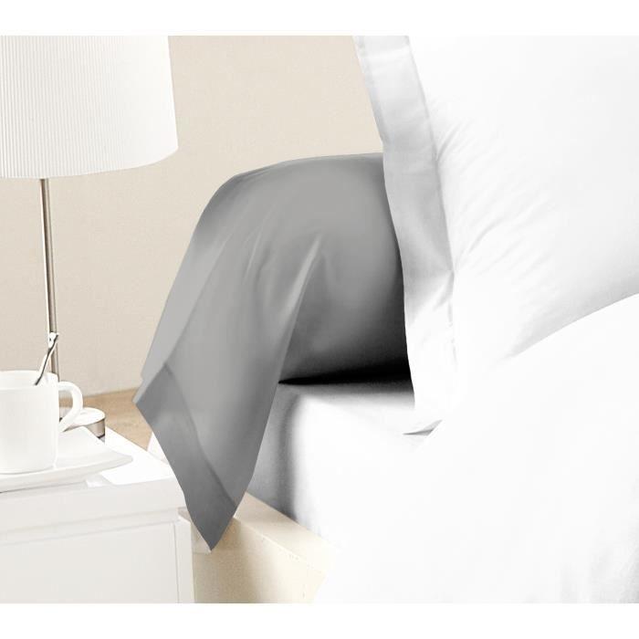 LOVELY HOME Lot de 2 Taies de Traversin 100% coton 85x185 cm gris clair