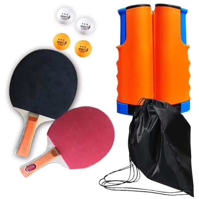 Set de tennis de table filet de ping-pong rétractable + 2 raquettes + 4 balles + sac - bleu orange