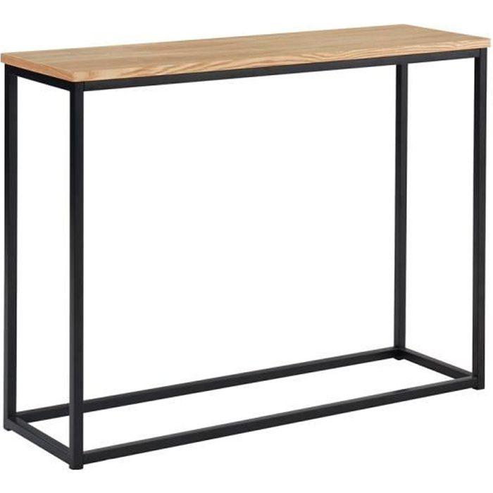 Console industrielle coloris chene clair et noir en MDF et métal - Dim : 100 x 30 x 75 cm