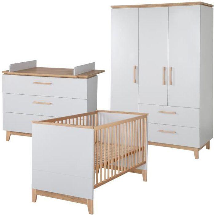 ROBA Ensemble de meubles bébé -Caro-, lit bébé 70x140 cm, commode à langer, et armoire à 3 portes