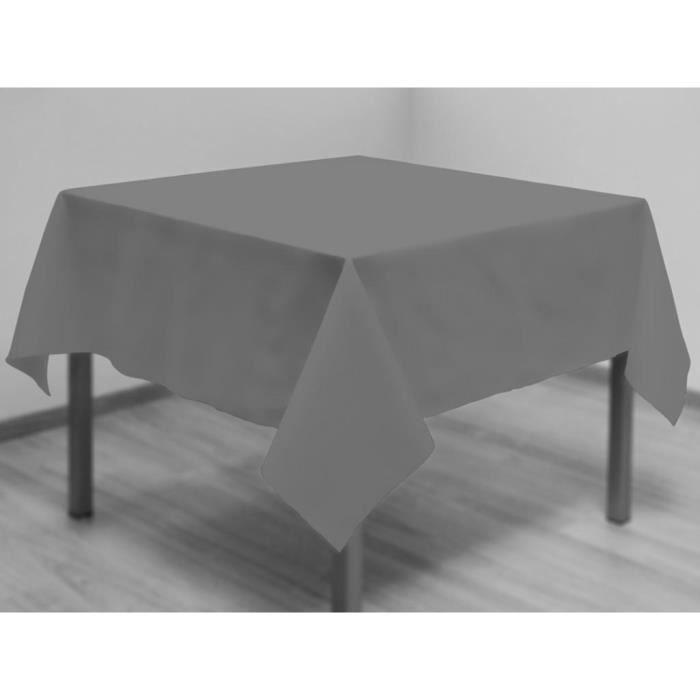 Nappe anti-tâches carrée 180x180 cm ALIX gris.