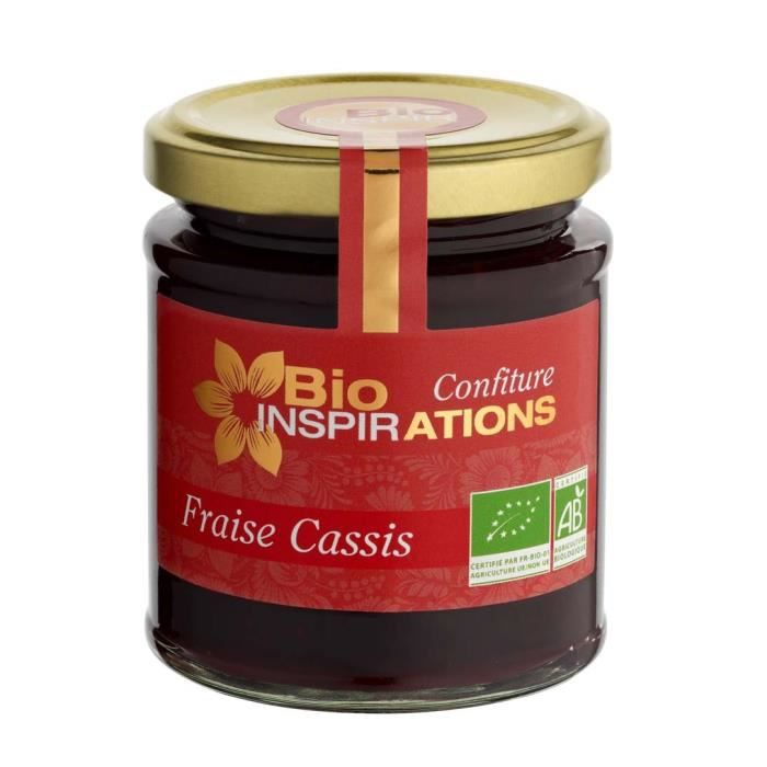 Confiture de Fraise Cassis Bio, pot 220 gr