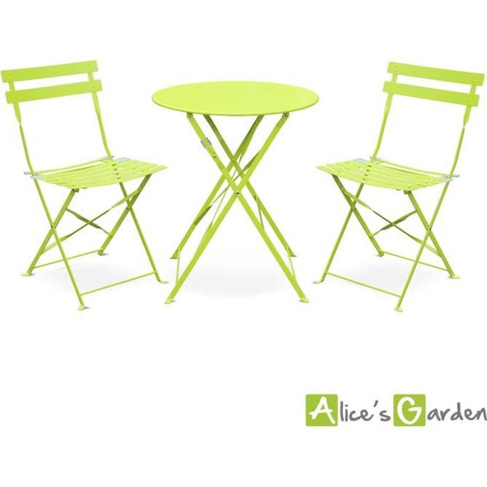 Emilia, Table vert anis style bistrot 2 places - Achat / Vente ...