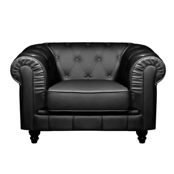 fauteuil chesterfield noir achat vente pas cher. Black Bedroom Furniture Sets. Home Design Ideas