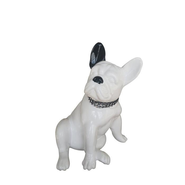 mod/èle Blanc D/écoration Hauteur 20 centim/ètres Laure Terrier Statue de Chien Bouledogue Fran/çais