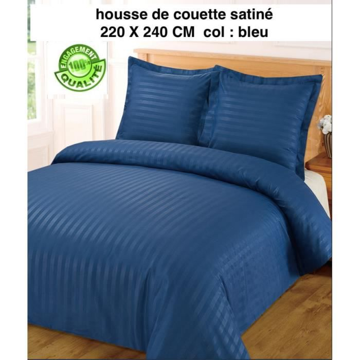 housse de couette satin a rayures bleu 220 x 240 2 taies achat vente housse de couette. Black Bedroom Furniture Sets. Home Design Ideas