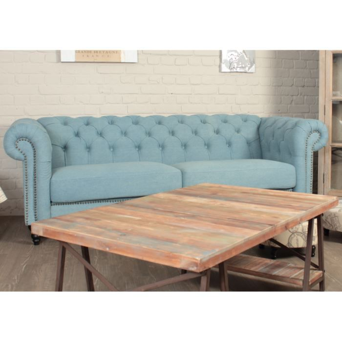 Canap chesterfield tissu jean us d lav achat vente canap sofa div - Canape chesterfield tissu ...