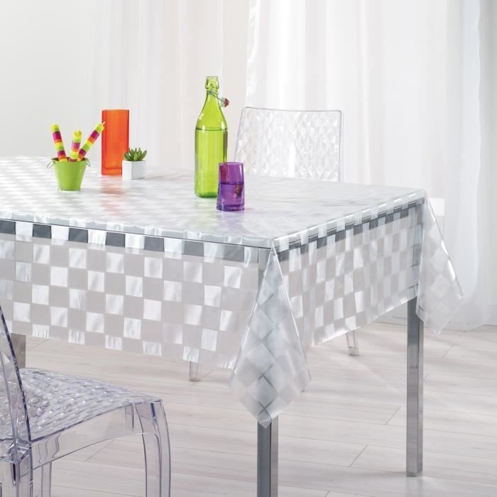 nappe pvc mosaique transparent rectangle 140x240cm achat vente nappe de table soldes d. Black Bedroom Furniture Sets. Home Design Ideas