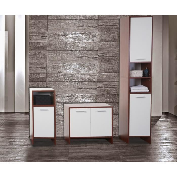 meuble de salle de bain complet blanc et marron achat vente salle de bain complete meuble de. Black Bedroom Furniture Sets. Home Design Ideas