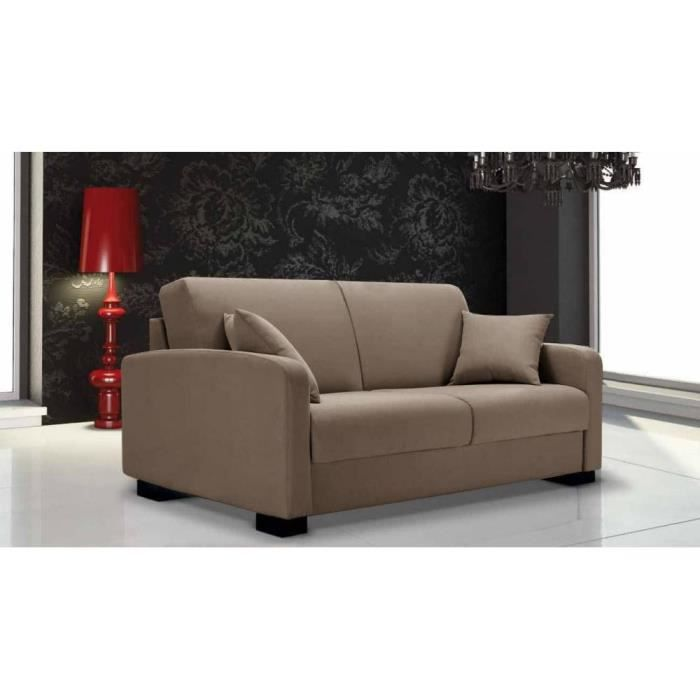 Canap lit leonardo tweed beige convertible rapido ouverture assist e couch - Clic clac couchage 140 ...