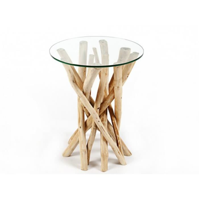 Table D Appoint Design Ronde 35 Cm En Bois Flotte Avec Un Plateau