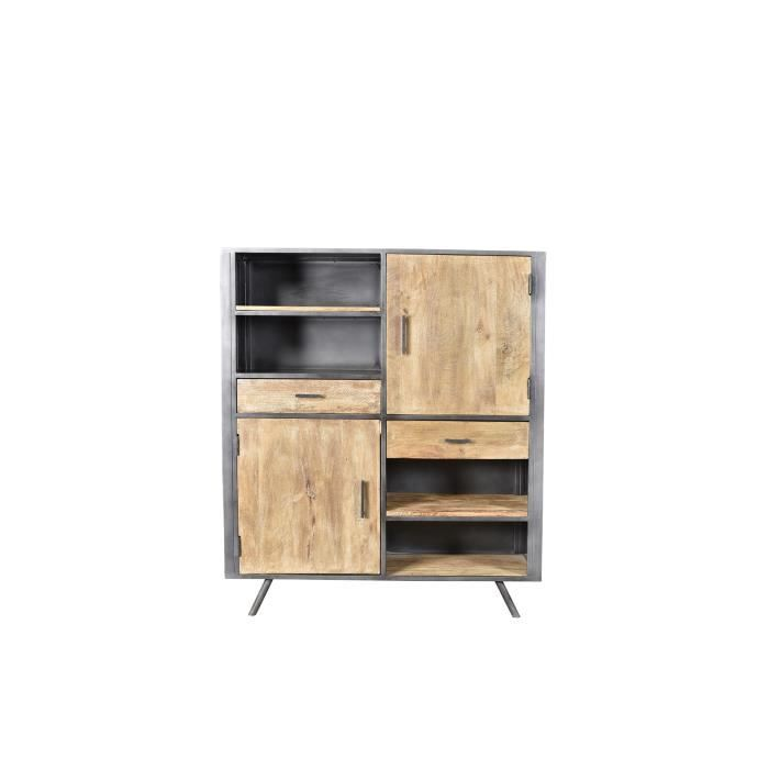 buffet haut industriel bois et metal achat vente. Black Bedroom Furniture Sets. Home Design Ideas