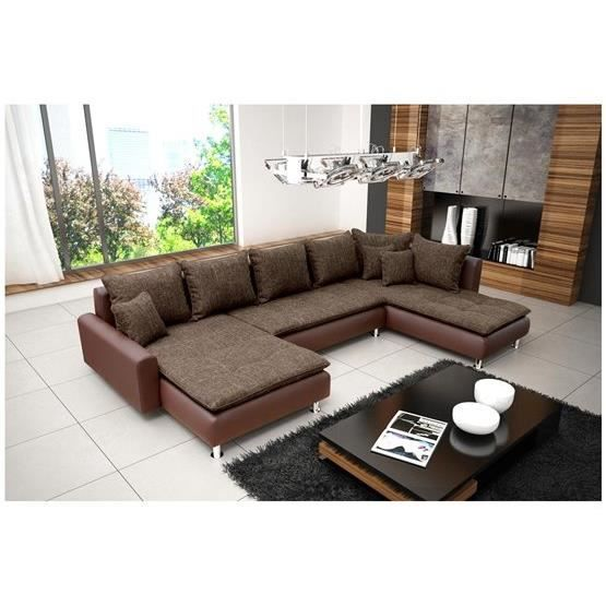 canap d 39 angle en u nina chocolat angle droit achat vente canap sofa divan cdiscount. Black Bedroom Furniture Sets. Home Design Ideas