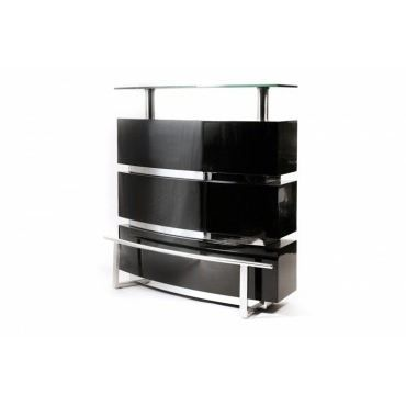 Bar laqu noir stargate achat vente meuble bar bar for Meuble bar noir