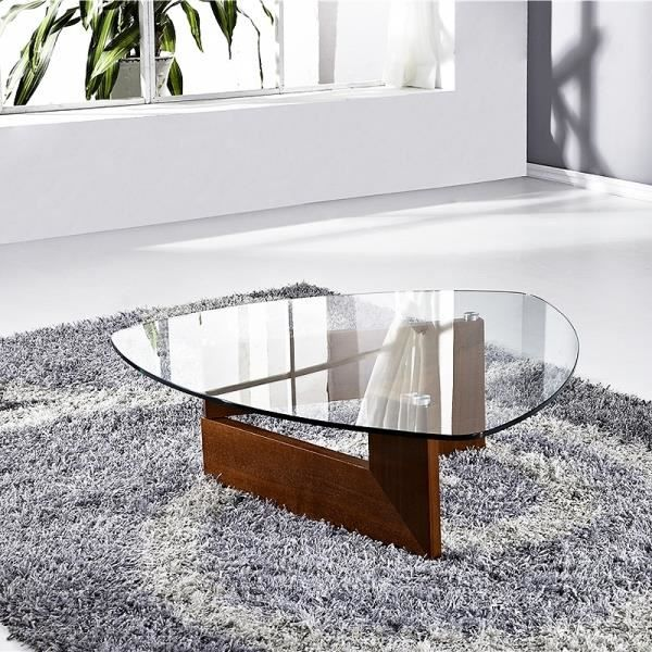 Table basse verre indy bois noyer achat vente table for Table de salon bois et verre