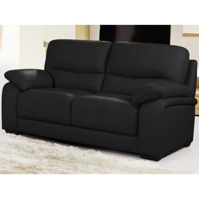 canap cuir de buffle milan 2 places noir achat vente canap sofa divan cdiscount. Black Bedroom Furniture Sets. Home Design Ideas