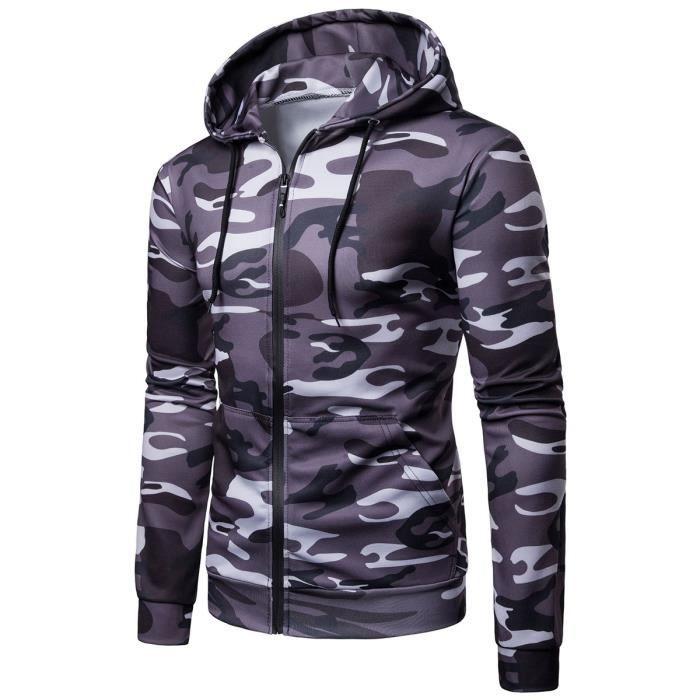 Sweat shirt à camouflage militaire homme à capuche à zip