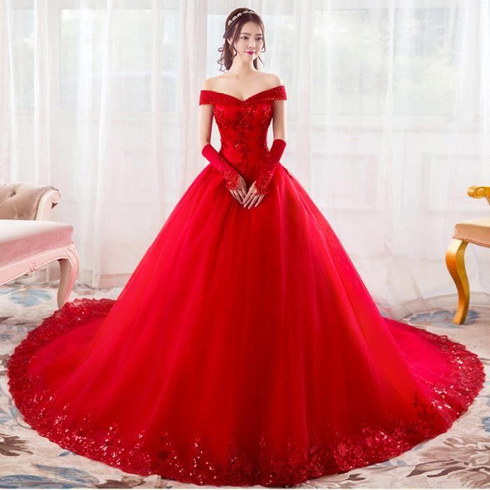 Robes De Mariée Rouge Cristal V-cou Robes