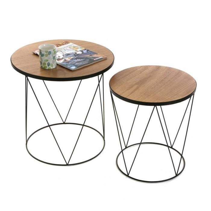 Table basse d 39 appoint en bois et metal ronde 2 tables for Petite table basse en bois