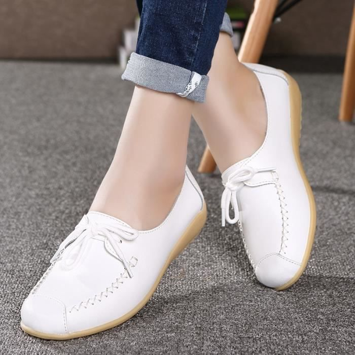 Mode Lace Up Mother Mocassins Femme douce Loisirs Flats Driving Casual Chaussures Femmes Chaussures Respirant Nurse Taille 35-40