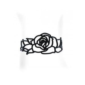 BRACELET - GOURMETTE Bracelet Rose en Silicone Noir effet Tatouage - Bl