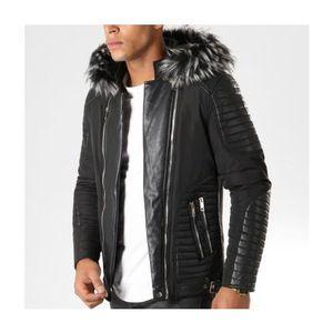 Mode Lifestyle homme FRILIVIN Veste simili cuir zippée empiècements matelassés