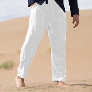 pantalon homme blanc lin