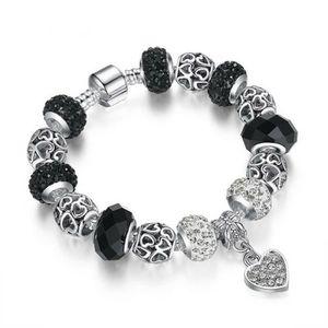 BRACELET - GOURMETTE 21 cm Bracelet Charm Coeur Cristal Swarovski* Styl