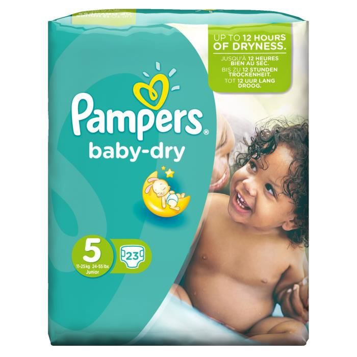 pampers baby dry taille 5 11 25kg 23 couches vert blanc. Black Bedroom Furniture Sets. Home Design Ideas