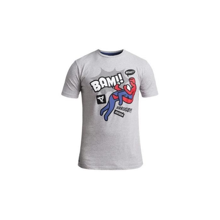 RUGBY DIVISION - Tee shirt manches courtes IMPACT gris chiné 100% coton