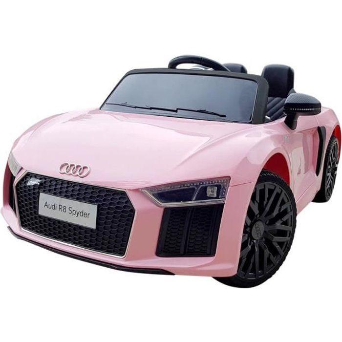Audi R8 Spyder licence pour enfants et filles Rose - Voiture électrique pour enfant avec batterie 12v et télécommande
