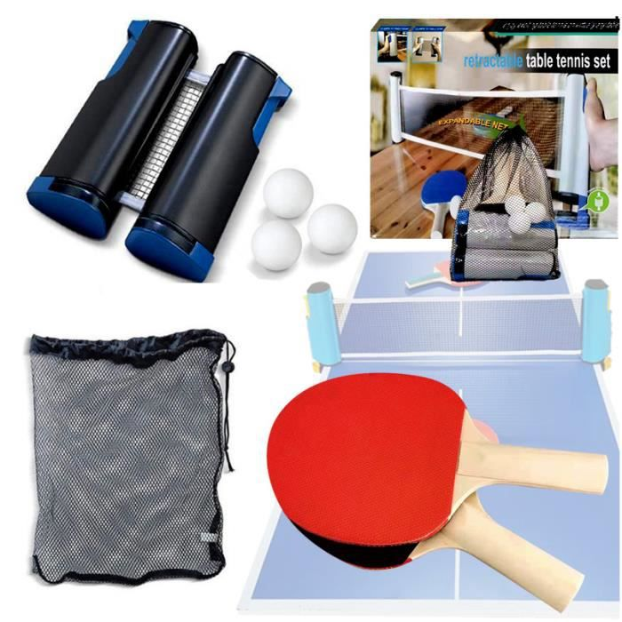 Raquettes de Ping-Pong Set Professionnel avec Filet de Ping-Pong, 2 Raquettes de Haute qualité, 3 Balles et 1 étui de Protection