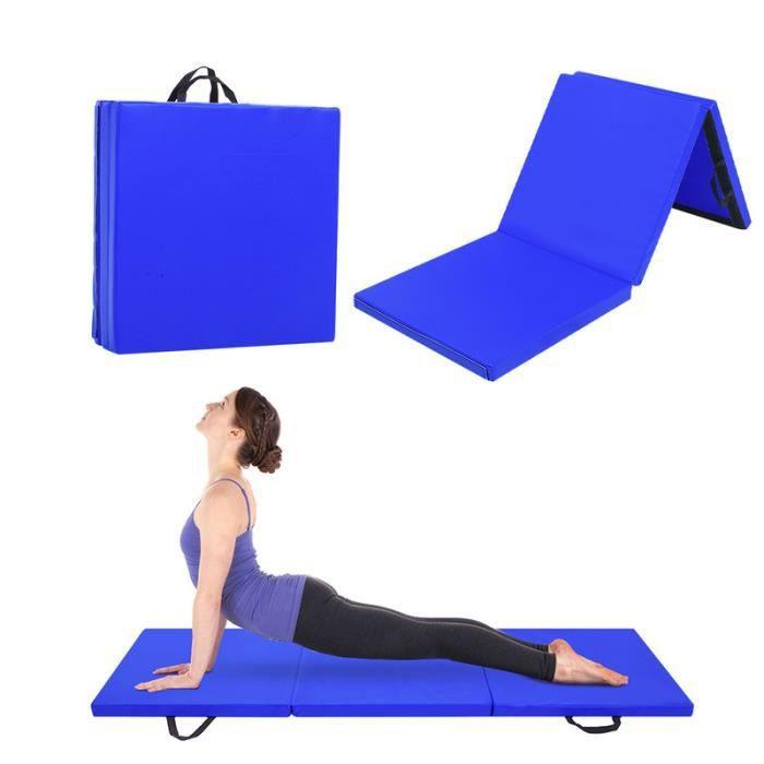 180x60x5cm Tapis de Gymnastique Epais - Matelas Gymnastique - Tapis Sol Gymnastique - Tapis Gymnastique Pliable Bleu