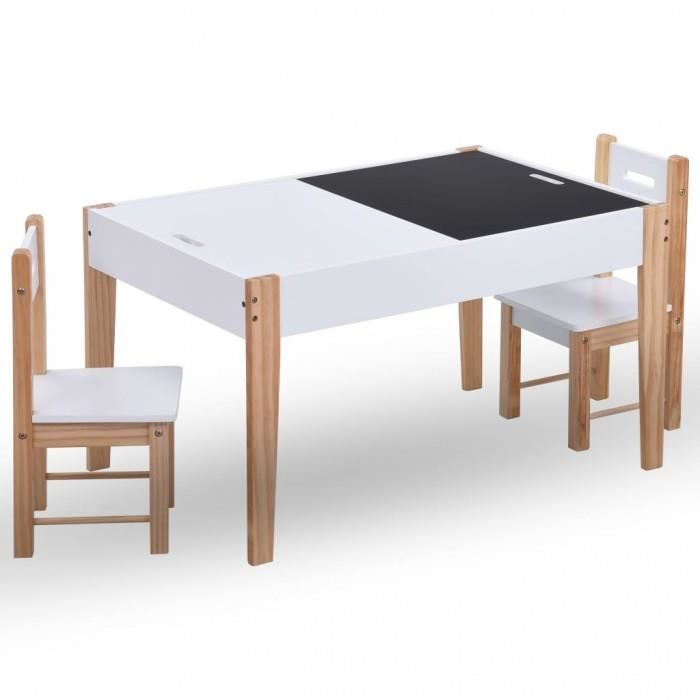 Meubles pour bebes tout-petits Ensemble de table et chaises pour enfants 3 pcs Noir et blanc