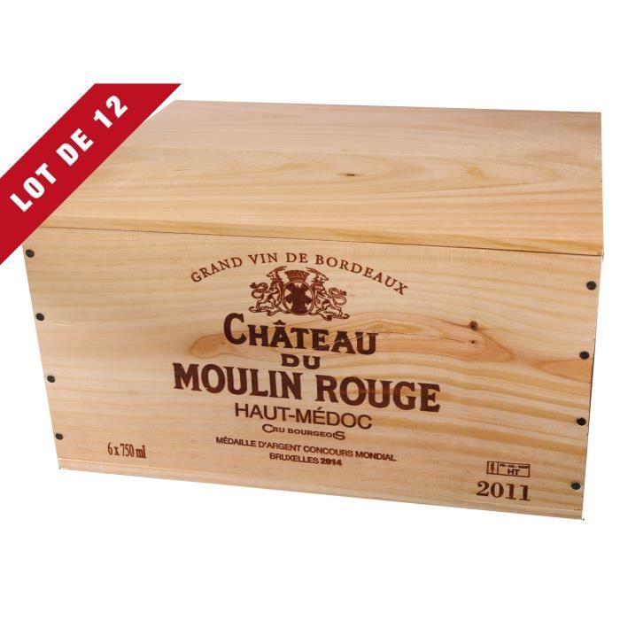 12X La Caisse Bois 6x75cl estampillé Château du Moulin Rouge - coffret