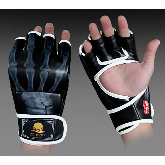 Gants de boxe Sanda gants Gants Muay Thai demi-doigts Gants UFC MMA gants (Esprit main, noir blanc)