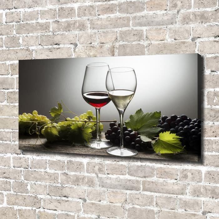Tulup 140x70 cm art mural - Image sur toile:- Nourriture boissons - Vin Raisins - Rouge