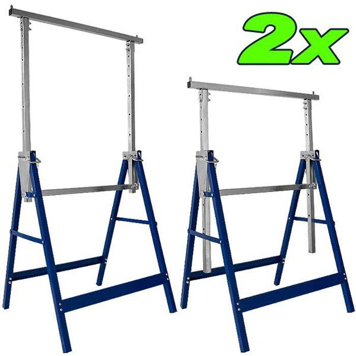 2x Tréteaux télescopiques professionnels 200 kg hauteur réglable 81 à 130 cm Brciolage
