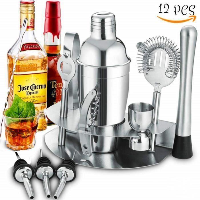 Kit Cocktail avec Shaker 12 Pièces en Acier Inoxidable, Kit Barman Shaker Cocktails Professionnel Avec Accessoires, Shaker Cocktai