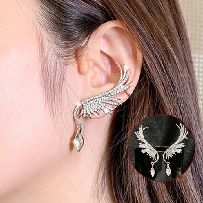 R 1 pair -1PC chaude gothique Punk Elf plein Diamante strass Angle aile oreille enveloppement manchette boucles d'oreilles unisex