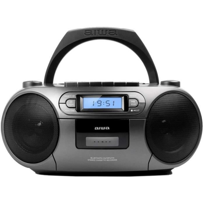Aiwa BBTC-550MG Radio Cassette Portable avec CD, Bluetooth et USB, Enregistreur de Cassettes, Matt Grey