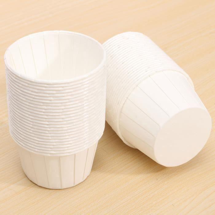 50pcs Caissette Papier Muffin Cupcakes Dessert Gâteau Moules Jetable Coupe Moule white L03820