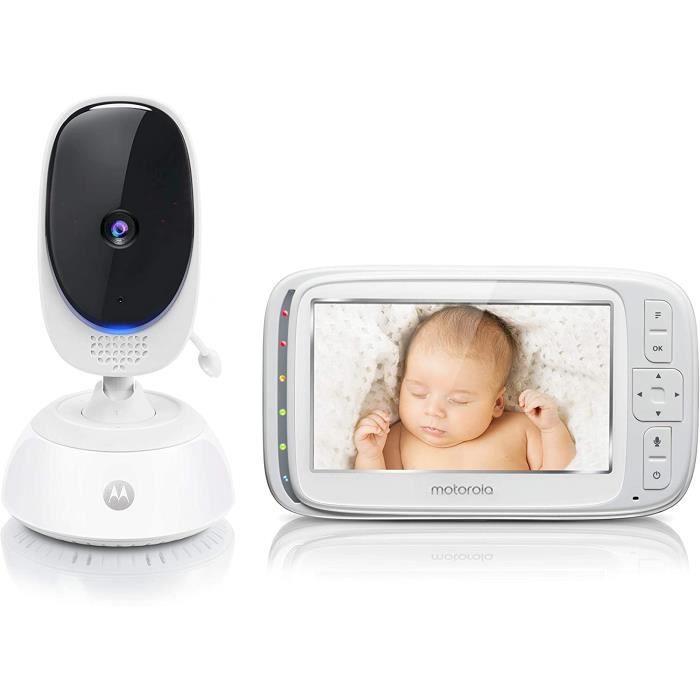 Motorola Baby Comfort 75 - Babyphone Vidéo avec Écran 5.0-, Éco-Mode, Vision Nocturne, Capteur de la Température Ambiante - Blanc