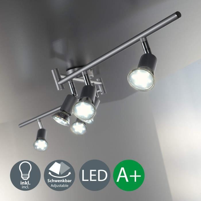 B.K. Licht plafonnier 6 spots orientables avec ampoules LED GU10, spots plafond, éclairage intérieur salon salle à manger cuisine