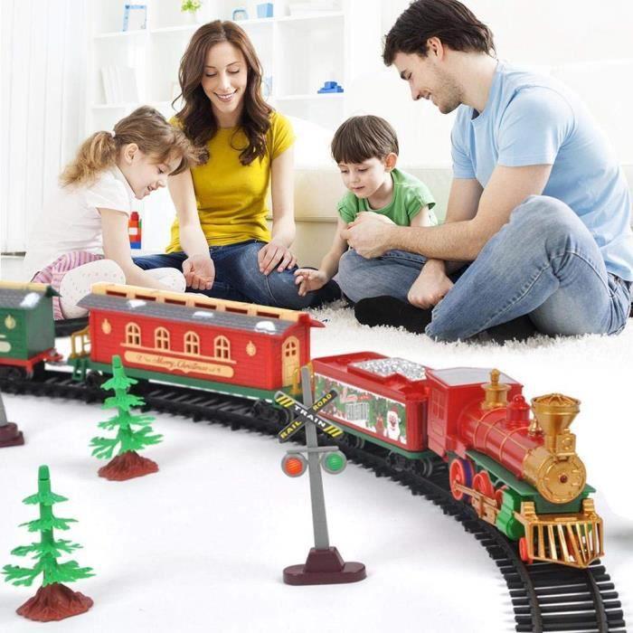 Circuit Train Jouet, Train Rails électrique avec lumière et Son pour Les Enfants Garçons Les Filles Noël