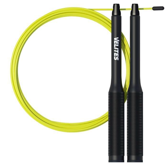 Velites Corde à Sauter pour Crossfit, Fitness et Boxe Vropes Fire 2.0 par Speed Jump Rope Lestée (Lests Non Inclus) - Aluminium